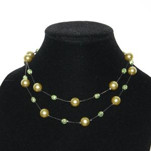 Double layered green pearl and black necklace